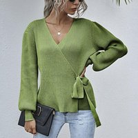 Women's Knits & Tees 2021 Sweater Coat Casual V-neck Waist Lace-up Cardigans