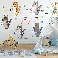 Wall Stickers Cartoon Cat DIY Living Room Bedroom Decor Kids Nursery Decoration Decals For Furniture