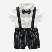 Baby Boys Gentleman Style Clothing Sets Summer Toddler Short Sleeve Shirts With Bowtie+Striped Suspender Shorts 2pcs Set Kids Suits Infant Outfits