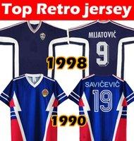 Coupe du Monde de football rétro Yougoslavie 1990 1991 Mijatovic 8 Savicevic 19 Vintage 1998 Stojkovic Classic Football Shirt