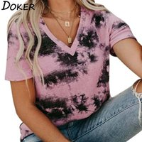 Women's T-Shirt Tie-dye Loose Printing Women T Shirt V-neck Fashion Oversized Hit Color All-match Casual Tee Femme
