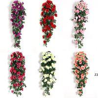 Fiore artificiale rattan fiori finti fiori della vite decorazione della parete appeso rose domestiche arredamento per la decorazione domestica decorativi di nozze corona HWD7310