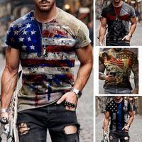 Sert adam bayrak erkek 3D t gömlek grafik optik illüzyon kısa kollu parti üst sokak punk goth mürettebat boyun yaz