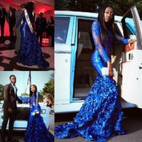 Royal Blue Mermaid Lace Black Girls Prom Dresses Sheer Bateau Neck Beaded Long Sleeves Formal Dress Plus Size Evening Gowns