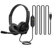 USB Headset with Microphone Headphones PC Business Headsets Mic Mute Noise Cancelling for Call Center Earphones