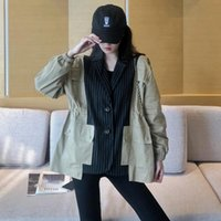 Women's Trench Coats Casual Loose Stitching Striped Female Coat Single Breasted Windbreaker Short Lapel Vintage Jacket With Pockets