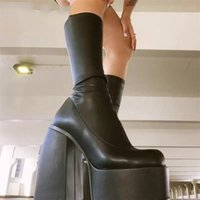 Punk Style Platform Boots Elastic Microfiber Shoes Woman Spice Ankle Boot Black Thick Bottom Long Knee High Shoe
