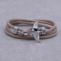 Charm Anchor Style Jewelry Ocean Silver Bracelet Color Whale Tail 2-3 Laps Adjustable Rope Bracelets for Men Women Gifts