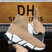 Menores de alta calidad Mujeres Diseñadores de lujo zapatos de moda para mujer pares velocidad 2.0 zapatillas de deporte triples zapatillas de plataforma negro negro zapatillas de deporte de entrenador