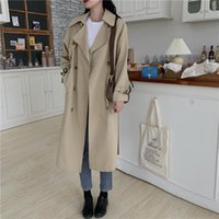 Women's Trench Coats WEIHAOBANG 2021 Autumn Winter Medium Long Solid Color Double Breasted Lapel Sleeve Windbreaker Coat