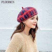 Ploermin lã vintage morna lãs inverno mulheres beret artista francês artista beanie chapéu chapéu para presente doce Primavera e outono chapéus 210311