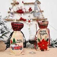 Christmas Plaid Red Wine Bottle Cover Flower Car Red Wine Bag Christmas Champagne Bottle Cover Christmas Wine Bottle Decoration NHE8719
