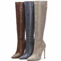 Brown Marka Designant Faux Skórzane Kobiety Kolean Wysokie buty Spiczaste Toe Buty Kobiety Długi Super Szpilki Buty Zipper