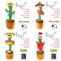 Dancing Cactus Plush Toy Singing 120 English Songs Electronic Shake Soft Plush Doll Cactus Toys For Kids Early Education Toy WHT0228