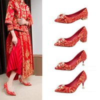 Dress Shoes Women's High Heels, Chinese Style Red Wedding For Bridal, Embroidered Stilettos