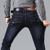 Jeans Menores 2021 Estilo Clásico Black Blue Negro Ajuste Negocio Casual Pantalones Denim Pantalones Masculinos Marca Pantalones