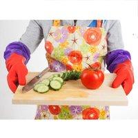 قفاز اللاتكس للماء مع تنظيف المطبخ القطن غسل طبق المطاط قفازات سماكة طويلة الأكمام قفازات الغسيل قفاز BWF9017