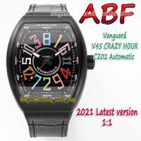 ABF New Crazy Hour Vanguard CZ02 Mecánico Automático Mecánico Art Deco Arabic Dial V45 Mens Reloj PVD Black Steel Clee Eternity Watches