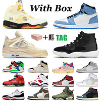 with box stock x original Uomini donne Nike Air Jordan Retro Scarpe Jordans shoes 5 High white off 4s Sail Mid 1 1s jumpman 11 mens womens trainers