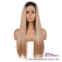 Темные корневые блондинки прямые синтетические кружева передний парик с детскими волосами для женщин Рука, связанные 13x4 Frontal Ombre Teavels Wig Cosplay Teople