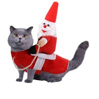 Dog Apparel Pet Outfit Riding Clothes Christmas Santa Costumes Holiday Party Dressing Up Clothing for Smal Medium Large Dogs