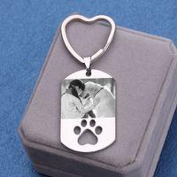 Kundenspezifische Hunde-Tag-Foto-Nachricht Schlüsselanhänger Anti-Lost Edelstahl personalisierte Keychain Charme Tier Schmuck Dekoration
