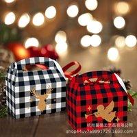 عيد الميلاد ندفة الثلج الأيائل الأحمر والأبيض منقوشة شريطية المحمولة هدية مربع عيد الميلاد تريس الشبكة تصميم الحلوى أكياس الهدايا حزمة الحلوى بسكويت حزمة G88EUZ6