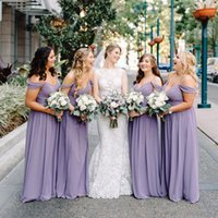 Lilac Bridesmaid Dresses Chiffon 2021 A Line Spaghetti Straps Ruched Pleats Off the Shoulder Custom Maid of Honor Gown Plus Size Country Wedding Party Wear vestidos