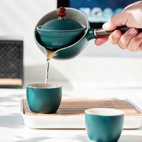 Керамический Путешественник Чай Набор Китайский Кунг-фу чай Чашка Чайник Чайник с сумкой Портативные Изготовление чайных инструментов Сервис Китайский Открытый Чайна