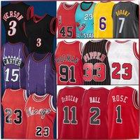 Vince 15 Carter Basketball Jersey Michael 23 MJ 33 Scottie Rodman Pippen 91 Dennis 1997 1998 레트로 Lonzo 2 공 데이르 11 Derozan Derrick Allen Rose Iverson Dwyane 3 Wade