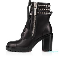 Luxury Famous Winter Spikes Red Bottom Ankle Boots Women's Motorcycle Booties Lug Sole Booty Elegant Leather Booties Lady High Heels 2787
