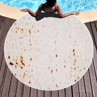 150 سنتيمتر ستوكات بوريتو بطانية 3d الطباعة فطيرة منشفة الشاطئ شرابات جولة شكل البطانيات المكسيكية التورتيا بطانية T9I001167