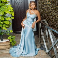 Party Dresses Eeqasn Sky Blue Mermaid Evening For Women Appliques Lace Satin Prom Gowns Pleated Saudi Arabia Formal Dress Plus Size