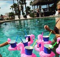 Flamingo gonflable Boissons Titulaire de la tasse Piscine Floats Bar Coasters Périphériques de flottation Enfants Bath Toy Petite taille
