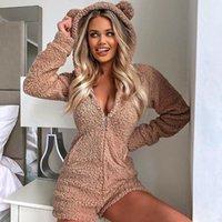 الخريف الشتاء المخملية النساء playsuit الرئيسية رومبير الدافئة لطيف الدب مقنعين الجسم البدلة بذلة سحاب ارتداءها عارضة أبلى