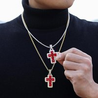 Pendant Necklaces Hip Hop Claw Setting Red 5A+ CZ Stone Bing Iced Out Cross Pendants Necklace For Men Rapper Jewelry Gift Gold Silver Color