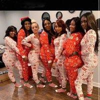 Natal xmas macacões mulheres sleepwear pijamas impressão de manga longa calças jumpsuit Sexy jumpsuits para adulto feminino nightwear s-2xl a6il #