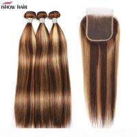 Hishow Highlights 4 27 Пакета человеческих волос с закрытием прямые волосы наращивания волос 3 4 шт. С кружевной закрытием цветной омбре