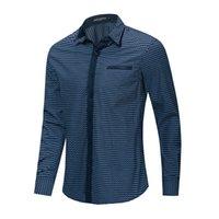 Fredd Marshall 2021 novo negócio casual camisa de manga longa homens 100% algodão triângulo camisa xadrez com bolso alta qualidade tops