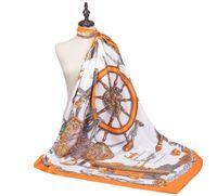 ファッション女性スカーフ130大判四角ヨーロッパとアメリカの帆船パターンパターンレディースツイルシルクショール装飾スカーフ2ピース/ロット