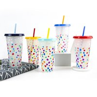 Love Straw Plastic Waters Cup Mugs Pp Beverage Color Changing Cups Cold To Blue Monolayer Discoloration Water Goblet 6 3bs Y2