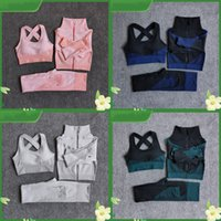 Fitnessanzüge Yoga Frauen Outfits 3 stücke Sätze Reißverschluss Langarm Sport Hose BH + Nahtlose Leggings Training Laufende Tragegymnastik Set Y057 366 x2