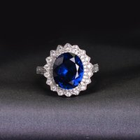 Cluster Rings CMajor Sterling Silver Synthetic Diamond Jewelry Fashion 14ct Cubic Zircon Red Blue Ellipse Opening Classic Ring For Women