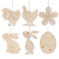 Etiqueta de madera de Pascua con cuerda colgante colgante ornamento huevo de Pascua Conejito de conejito decoración del hogar Suministros de fiesta JK2002