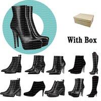 الجوارب النسائية مصمم الفاخرة الأحذية السوداء جلد النساء الكاحل الأحذية الأحمر أسفل عالية كعب براون مضخات طويلة مارتن قيعان قصيرة الثلوج الركبة