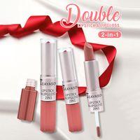Teyason Lip Gloss 2-in-1 cabeça dupla duradouro fosco fascinante cor de pasta de cor lipgloss batom líquido tint maquiagem lábios forro de alta qualidade