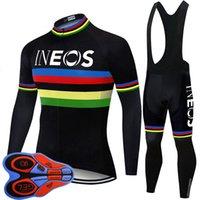 Erkekler Ineos Takımı Bisiklet Uzun Kollu Jersey Önlüğü Pantolon Set 2020 Ropa Ciclismo Bisiklet MTB Giysi Moda Spor S21030362