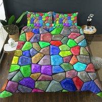 اللون الإبداعي حجر تصميم غرفة النوم مجموعة الفراش سوبر لينة تشفير مفردة سرير مزدوج سرير كينغ حجم جناح مع غطاء لحاف وسادة
