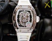 الساعات RM-052 Color Stars Series Watch Watch مجموعة مع الماس شل الجسم هيكل عظمي صورة الياقوت مرآة المطاط watchband