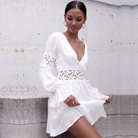 Casual Dresses 2021 Summer Women Girls' Backless Hollow Out V Neck Sexy Party Beach Dress White Mini Long Sleeve Fashion Holiday